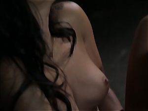 Asa Akira strokes as she watches a naughty duo