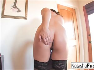 Natasha ravages Her arse With a Purple toy