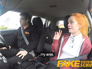 fake Driving college uber-cute sandy-haired Ella Hughes tears up