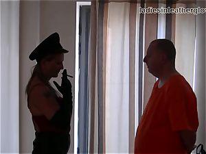 Smoking leather clad female dominance in gloves fetish predominance
