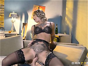 tatted Kleio Valentien taking each inch of a massive salami