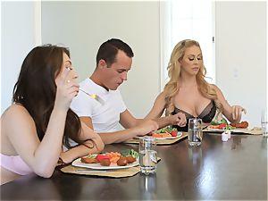 Dinner table vulva fuck with Cherie and Jojo