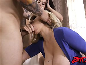 Julia Ann and Whitney milky handle cock
