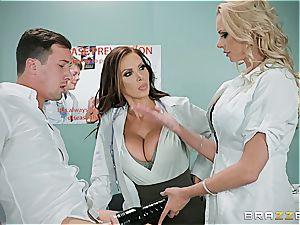 medic Nikki Benz and nurse Briana Banks treating a ginormous stuck schlong