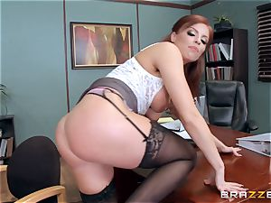 ginger-haired boss Britney Amber plows a nasty worker