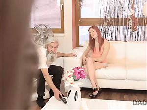DADDY4K. boy and his aged parent team up to penalize slutty girlfriend