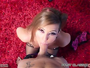 scorching black-haired Maddy OReilly giving a super hot and voluptuous oral job