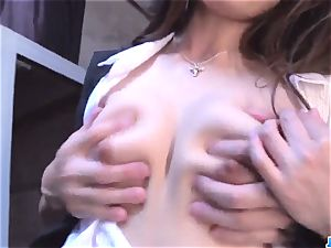 Shiona Suzumori removes undies to try hard-on in her coochie