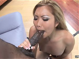 gorgeous asian doll Lana Croft wrecked by immense ebony beef whistle