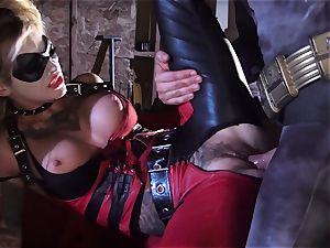 Kleio Valentien gives dirty oral pleasure to a superhero