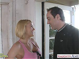 platinum-blonde ultra-cutie Krissy Lynn gets her cock-squeezing vulva plunged