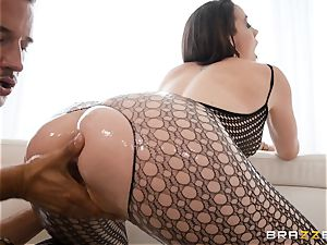 lubricating up the labia of Chanel Preston and spreading her out