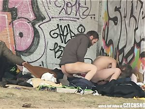 Homeless 3some Having orgy on Public