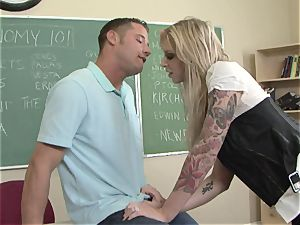 gigantic boobed Brooke Brand eats her man's dong