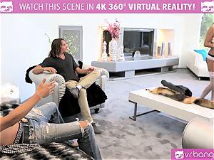 VR fuckers -DILLION HARPER and PRISTINE in warm 4some