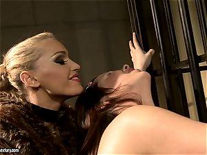 Kathia Nobili in unshaved jacket torturing a super-fucking-hot honey