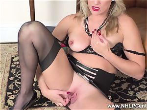 blond finger pokes humid cooch in girdle antique nylons