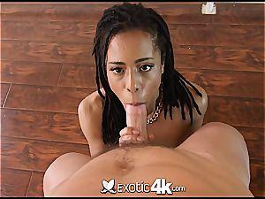 Pettite black nubile Kira Noir takes a pipe