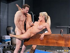 Capri Cavanni finishes her workout with some fat wood