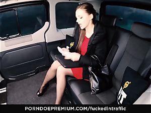 banged IN TRAFFIC Tina Kay footjob in the backseat