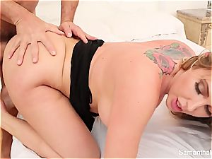 Samantha Saint needs to quench her sexual appetite with a ginormous prick in her mouth