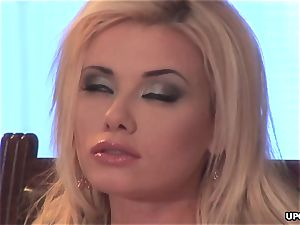 blonde female, Caylian Curtis is touching her humid puss