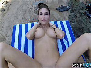 Beach backside Jessica Jaymes poked deep in her sexy jewel cooter