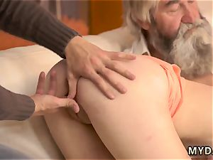 nubile kitchen solo unload unexpected practice with an aged gent