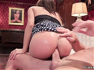Butler takes control on mommy and her nubile