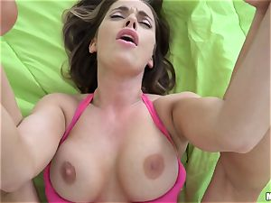 Devyn Cole lets her sloppy neighbor in for a smash