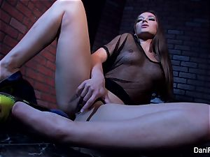 petite sweetie Dani Daniels fingers her cock-squeezing gash