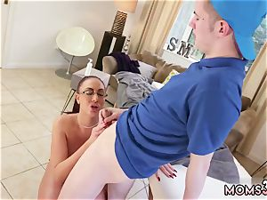 In front of family very first time massive jug Step-Mom Gets a rubdown