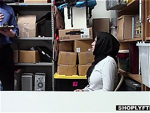 gigantic titted hijab teen gets a facial cumshot in the shop backoffice